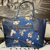 Coach Denim Navy Crossbody Purse Bag Handbag  Flowers With Dust Bag Photo