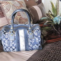 Coach Denim Tie Dye Stripe Suede Satchel Handbag Photo
