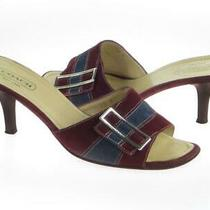 Coach Denise Burgundy & Grey Suede Leather Mule Sandals Made in Italy - 10 B Photo