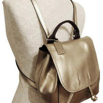 Coach Derby Metallic Leather Backpack in Platinum Photo