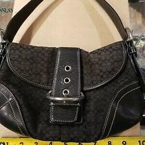 Coach Designer Black Canvas & Leather Trim Shoulder Bag Purse. Silver Accents Photo