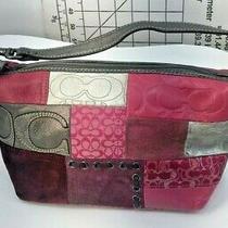 Coach Designer Red/pink/silver Wristlet Handbag Clutch Photo