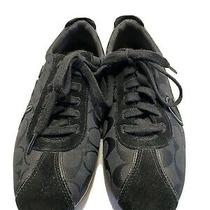 Coach Devin Black Leather Sneakers Size 9.5 B Tennis Shoes Photo