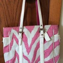 Coach Devin Zebra Print With Leather Shoulder Tote Bag - Pink Photo