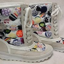 Coach Dorean Nylon Suede Mid Winter Boots White Multi  6 1/2 B  Lace Up Photo