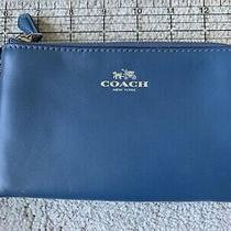 Coach Double Corner Zip Wristlet Smooth Leather Slate Blue Nwt F64581 Photo