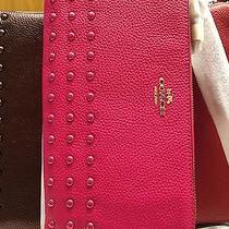 Coach Double Zip Walletwristlet Accessories Colors Pinkredgold Nwt180 54709 Photo