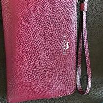 Coach Double Zipper Wristlet Wallet Red Leather  Photo
