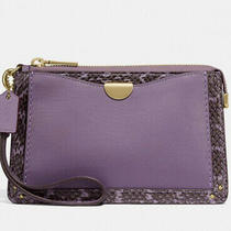Coach Dreamer Wristlet Snakeskin Detail Leather Dusty Lavender Nwt 73957 225 Photo