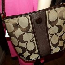 Coach Duffle Crossbody Signature Purse New With Tags Khaki/mahogany F21905   Photo