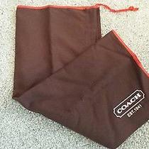 Coach Dust Bag Cover W/red Drawstring Cloth Brown Storage 19