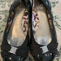 Coach Dwyer Patent Leather Flats Womens Sz 9  Black Crinkle Shoes Ballet Logo Photo