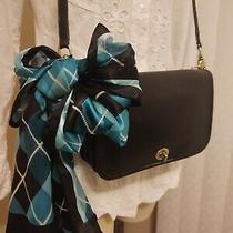 Coach Early Vtg 9755 Pocket Purse Crossbody Black Leather W Companion Scarf Euc Photo