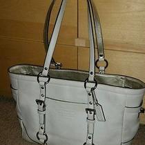 Coach East West Gallery White Leather Tote Handbag Shoulder Bag 12343 Photo