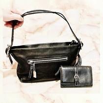 Coach East West Legacy Hobo Shoulder Bag  Black Leather Wallet Set Photo