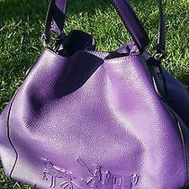 Coach Edie Embossed Horse and Carriage Leather Handbag Violet 33727 Photo