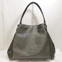 Coach Edie Shoulder Bag Metallic Leather Free Shipping Pre Photo