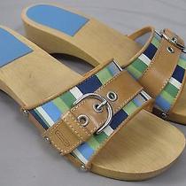 Coach Ella Blue & Green Stripe Fabric Wood Clogs Slides W/ Tan Leather & Buckle Photo
