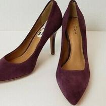 Coach Ellin Leather Suede Heels Size 8.5 Plum New W/o Box 49.95 Photo