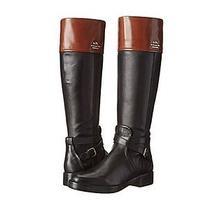 Coach Elm Black/mahogany Leather Semi Matte Tall Boots Size 11 Q6301 Rv398 Photo
