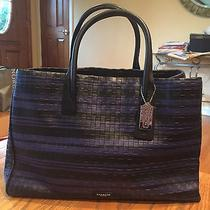 Coach Embossed Woven Leather Tote - Black & Blue Photo