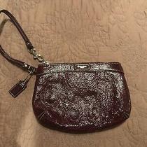 Coach Embroidered Logo C Patent Leather Wristlet Burgundy Euc Photo