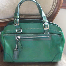 Coach Emerald Green Leather Satchel Handbag Carryall Purse Tote Hampton Photo