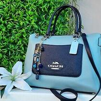 Coach Emma Colorblock Satchel Crossbody Leather Purse Handbag Navy/blue Photo