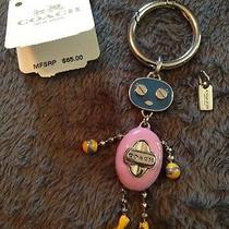 Coach Enamel Robot Key Chain Ring Fob F64381 Blue Pink Yellow Silver Photo