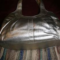 Coach Ergo Silver Metallic Kisslock Leather Handbag  12831 Photo