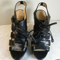 Coach Est 1941 Moreen Black Leather Front Lace Gladiator 5.5