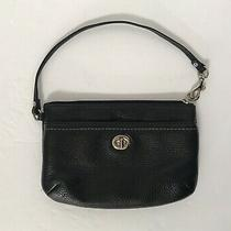 Coach Euc Black Pebble Leather Clutch Wristlet Bag With Turnlock Front Pocket Photo