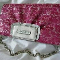 Coach Evening Bag Lurex Metallic Clutch Crossbody Optic Pink Silver Nwt Photo