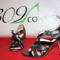 Coach Evie 6.5 Black Pewter Silver Calfskin Leather Snakeskin Sandals Heels Photo