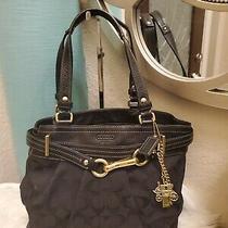 Coach F 12476 Black Canvas With Leather Trim Hampton Pleated Shoulder Purse Bag  Photo