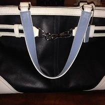 Coach F10521 Blue and White Leather Carryall Satchel Tote Purse  Photo