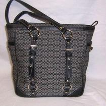 Coach F11526  Blk & Gray Signature Leather Trim Purse - Tote - Shoulder Bag  Photo