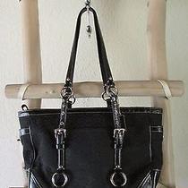 Coach F12346 Black Mini C Gallery Canvas Patent Leather Trim M Tote Bag Photo