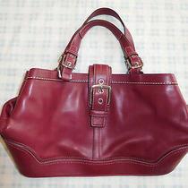 Coach F12602 Dark Red Maroon Burgundy Leather Handbag Tote Purse Bag Photo