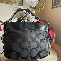 Coach F12657 Zoe Signature Medium Hobo Bag Purse Black on Black Clean Classic Photo