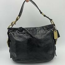 Coach F12735 Zoe Black Patent Leather Purse Shoulder Bag 13