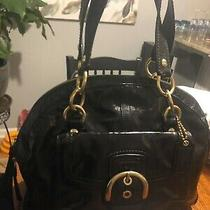 Coach F13134 Soho Courtney Crinkled Black Patent Leather Domed Satchel Purse Photo