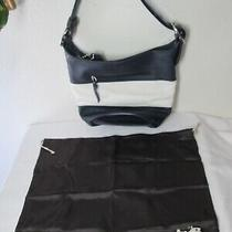 Coach F13357 New Leather Rugby Stripe Blue White Shoulder Bucket Bag Purse. Photo
