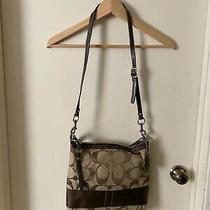 Coach F13674 Signature Khaki Brown Stripe Crossbody Shoulder Messenger Handbag Photo