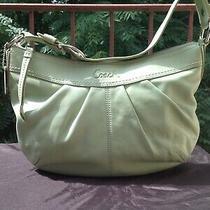 Coach F13730 Leather  Handbag Authentic Euc Pleat Hobo Shoulder Bag Mint Green Photo