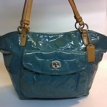 Coach F14663 Blue Patent Leather and Brown Leather Tote Purse Photo