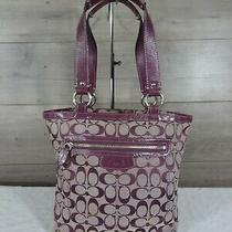 Coach F14693 Purple Canvas Leather Penelope Tote Handbag Shoulder Bag Purse  Photo