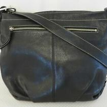 Coach F15064 Black Pebble Leather Hobo Style Duffle Purse Photo