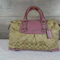 Coach F15440 Khaki Mauve Ashley Satchel Shoulder Bag Carryall Tote Photo