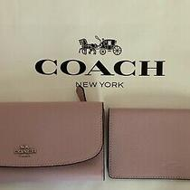 Coach F16613 Pebble Leather Checkbook Wallet Sv/blush 2 Nwt Photo